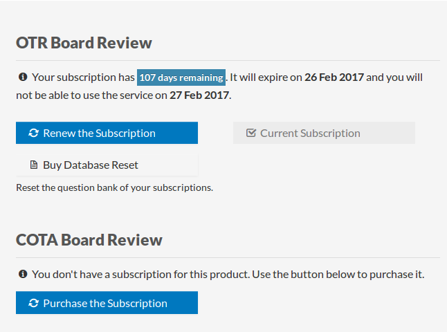 Dashboard subscriptions